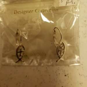 Jewelry - Silver Religious Fish Earrings NWT